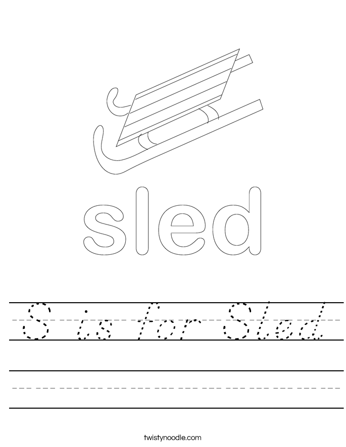S is for Sled Worksheet