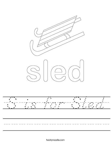 Boy Sledding Worksheet