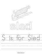 S is for Sled Handwriting Sheet