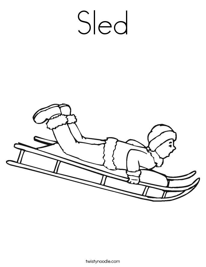 Sled Coloring Page Twisty Noodle Template Toboggan