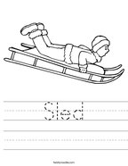 Sled Handwriting Sheet