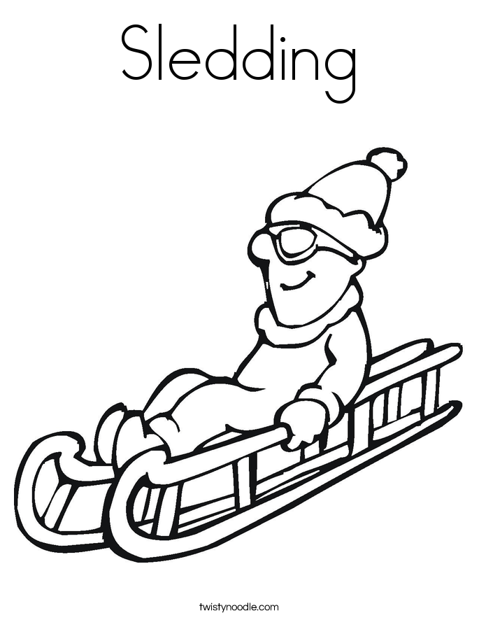 Sledding Coloring Page Twisty Noodle