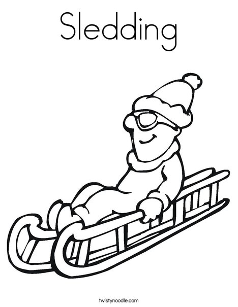 Sledding Coloring Page