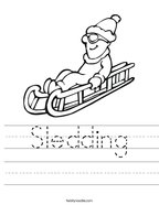 Sledding Handwriting Sheet