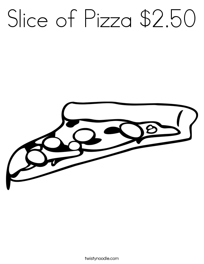 Slice of Pizza $2.50 Coloring Page