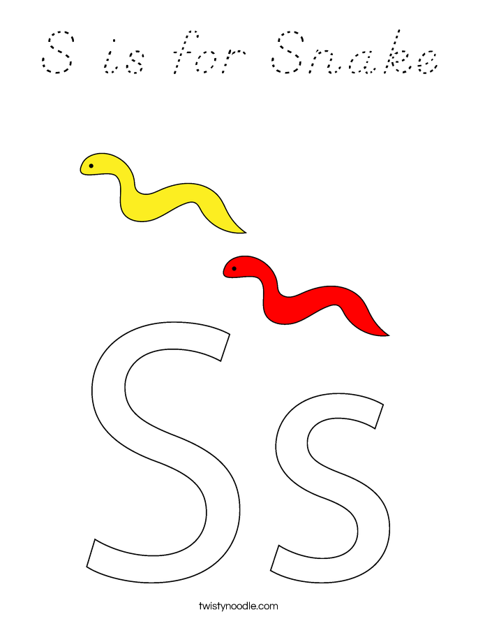 S is for Snake Coloring Page