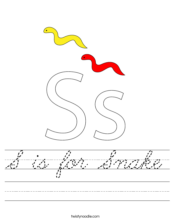 S is for Snake Worksheet