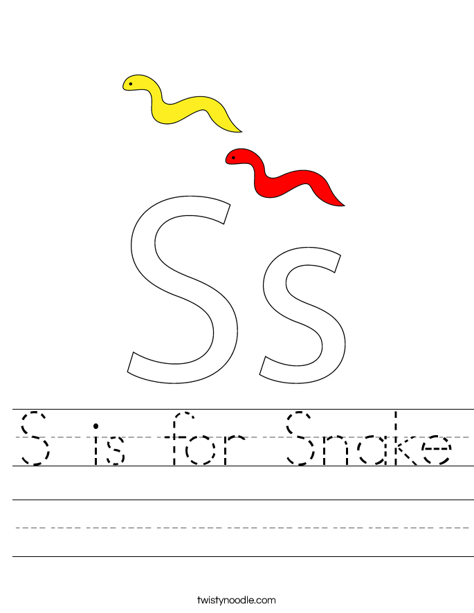 S is for Snake Worksheet