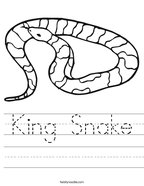 King Snake Handwriting Sheet