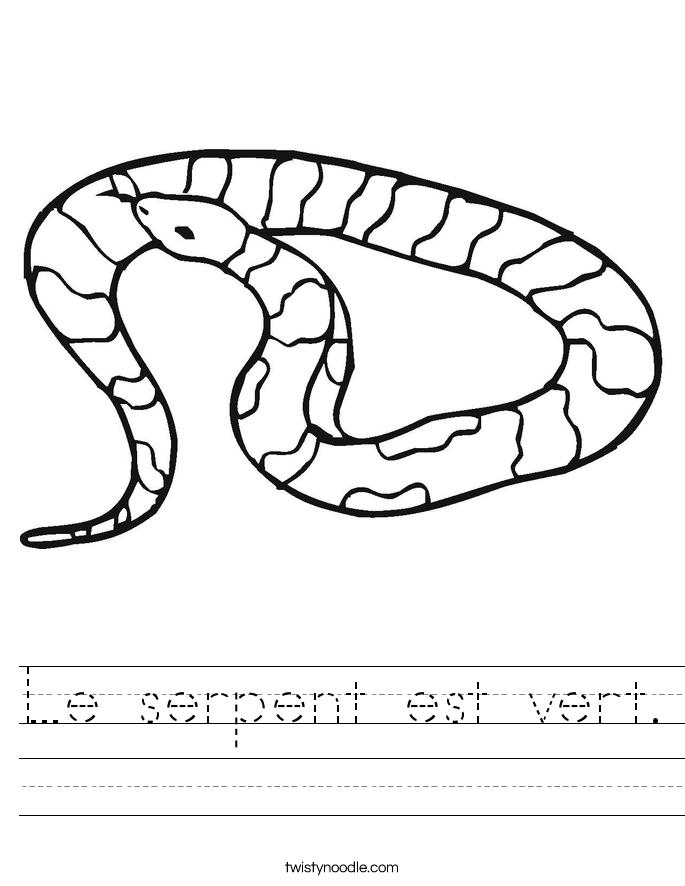 Le serpent est vert. Worksheet