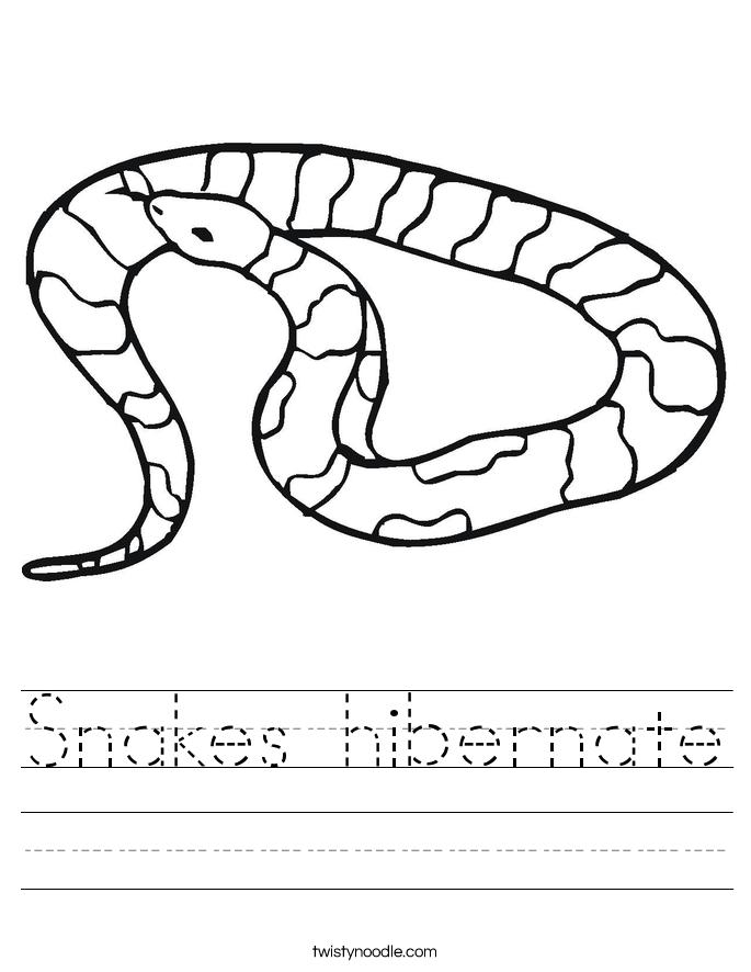 Hibernation Worksheets Snakes hibernate worksheet.