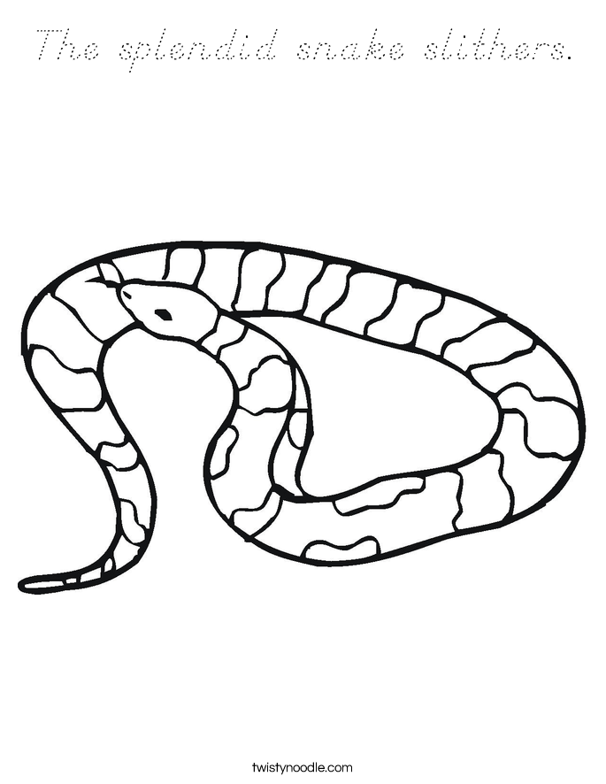 The splendid snake slithers. Coloring Page