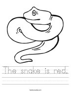 The snake is red Handwriting Sheet