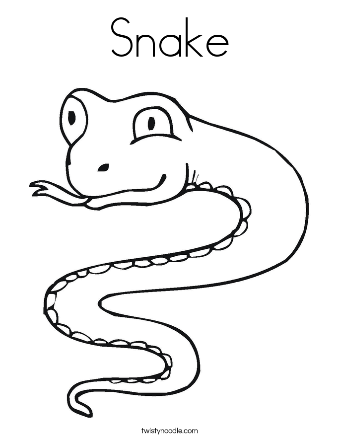 S is for Snake Coloring Page Twisty Noodle