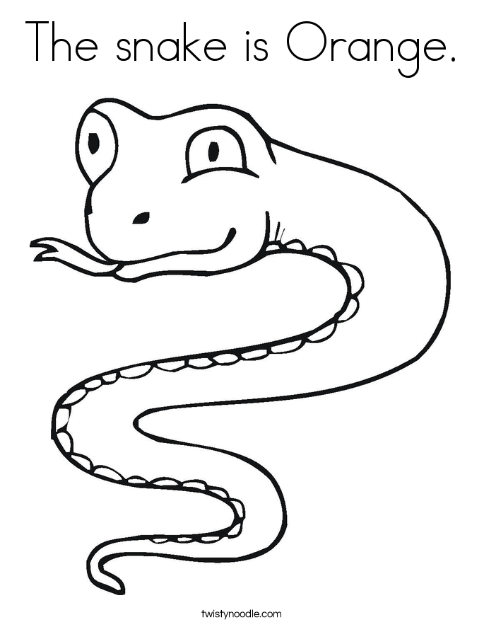 The snake is Orange. Coloring Page