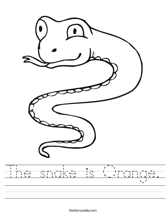 The snake is Orange. Worksheet