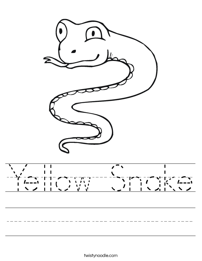 Yellow Snake Worksheet - Twisty Noodle