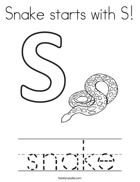 Snake Starts With S Coloring Page Twisty Noodle