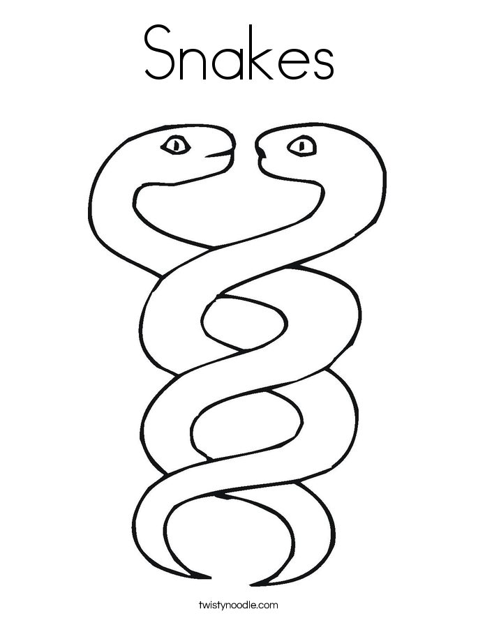 Snakes Coloring Page Twisty Noodle
