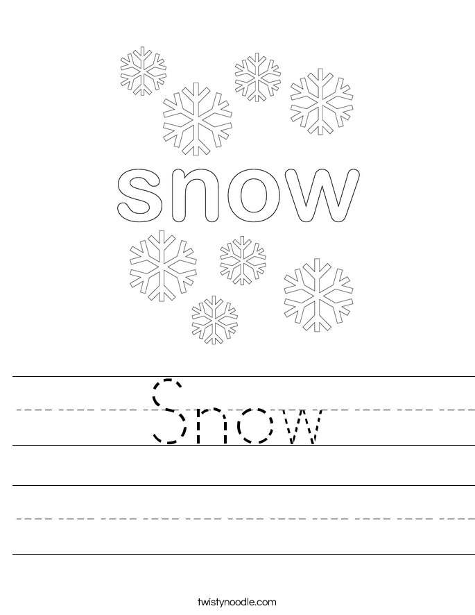 Snow Worksheet Twisty Noodle