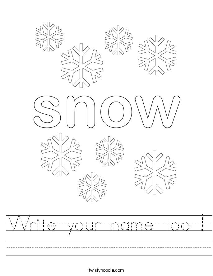 Write your name too ! Worksheet