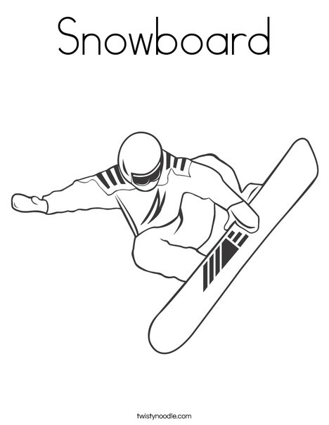 Snowboarder Jumping Coloring Page