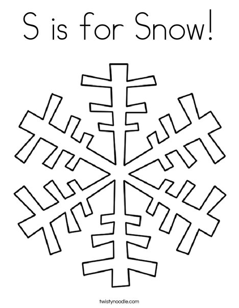 S is for Snow Coloring Page - Twisty Noodle