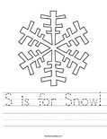 S is for Snow! Worksheet