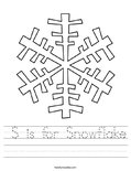 S is for Snowflake Worksheet