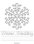 Winter Wedding Worksheet