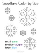Snowflake Color by Size Coloring Page