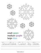 Snowflake Color by Size Handwriting Sheet