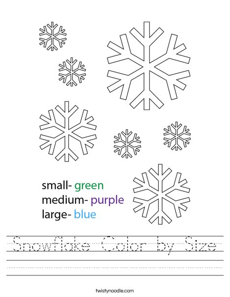 Snowflake Color by Size Worksheet