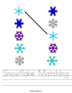 Snowflake Matching Handwriting Sheet