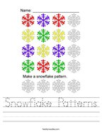 Snowflake Patterns Handwriting Sheet