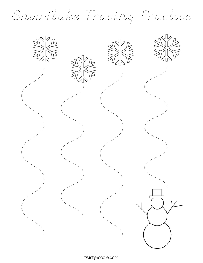 Snowflake Tracing Practice Coloring Page