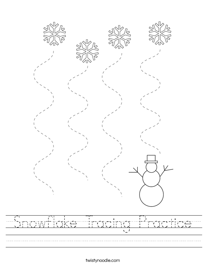 Snowflake Tracing Practice Worksheet