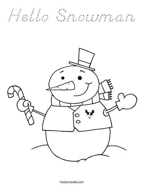 Snowman Holding a Candy Cane Coloring Page