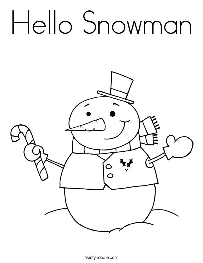 hello snowman coloring page