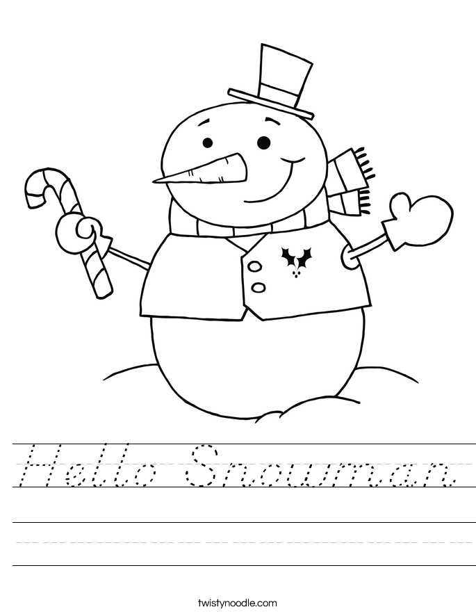 Hello Snowman Worksheet