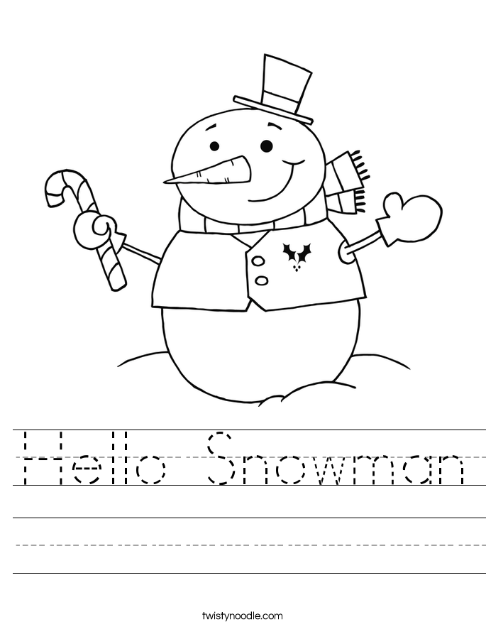 Hello Snowman Worksheet