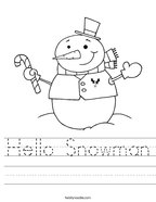 Hello Snowman Handwriting Sheet