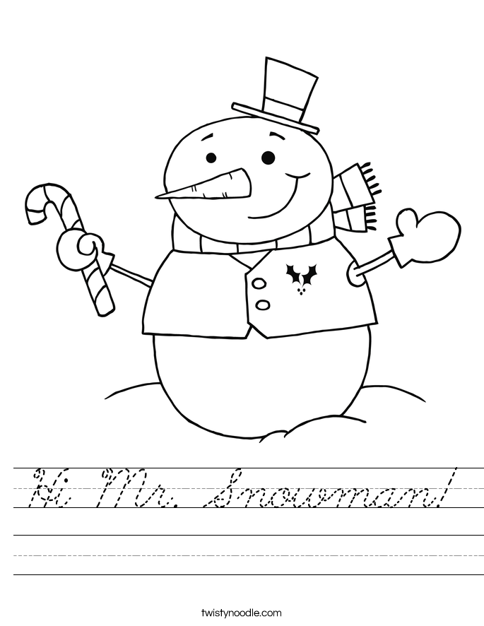 Hi Mr. Snowman! Worksheet