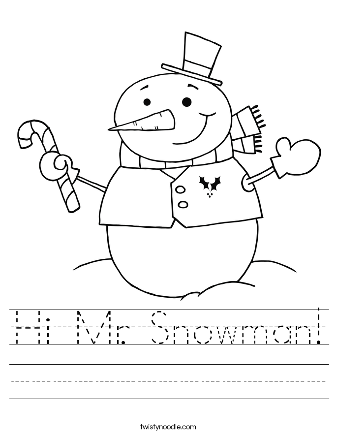 Hi Mr. Snowman! Worksheet