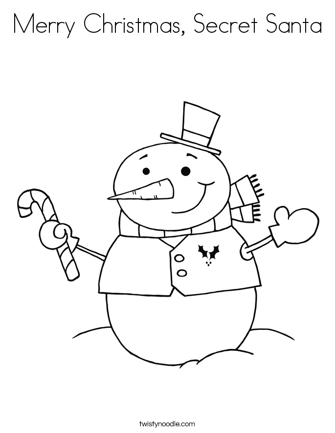 Merry Christmas, Secret Santa Coloring Page