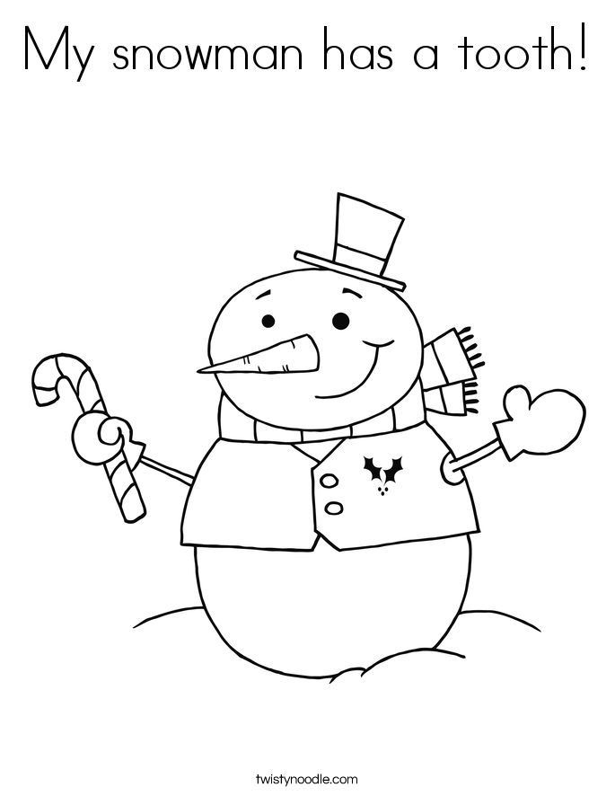 My snowman has a tooth! Coloring Page