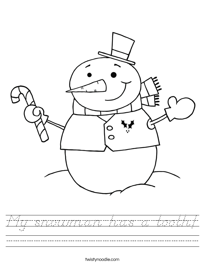 My snowman has a tooth! Worksheet