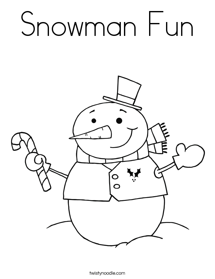 Snowman Fun Coloring Page