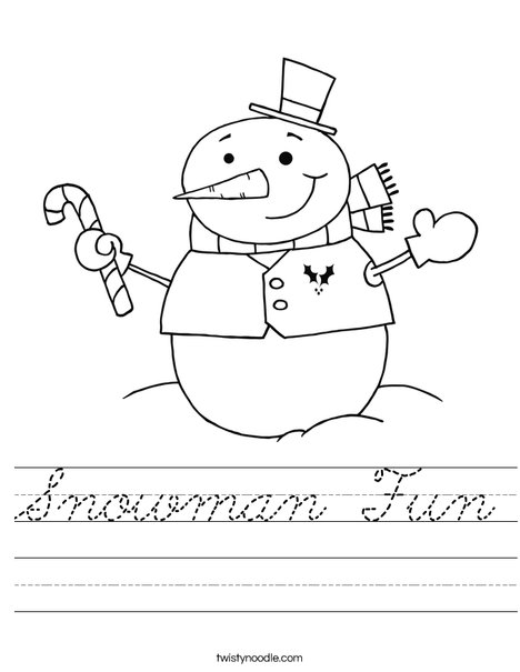 Snowman Holding a Candy Cane Worksheet