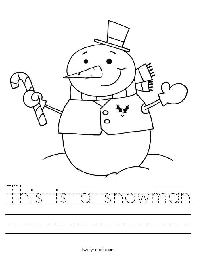 This is a snowman Worksheet - Twisty Noodle